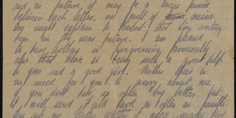 Letter from Albert Haughton to his mother, 27 August 1916