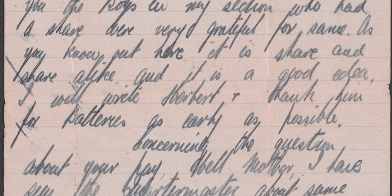 Letter from Albert Haughton to his mother, 19 August 1916