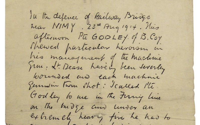 Private Godley's commanding officer wrote this note recognising Godley's bravery