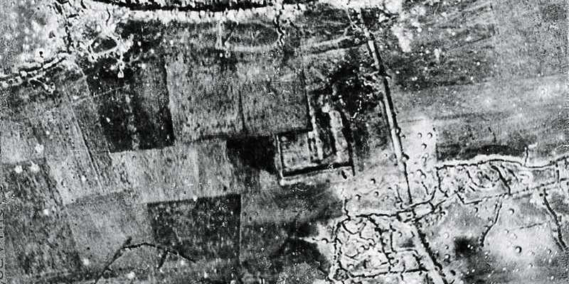 Aerial photograph of the Fonquevilliers [sic] - Gommecourt Road, c1916