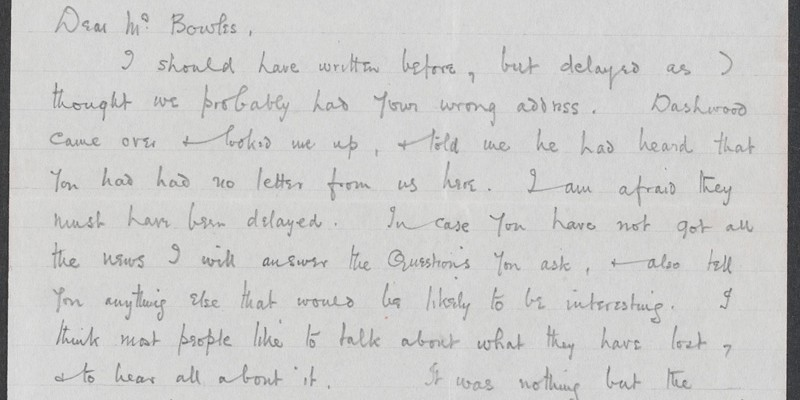 A letter written by Alan's school friend Walter Scobell to Alan's mother