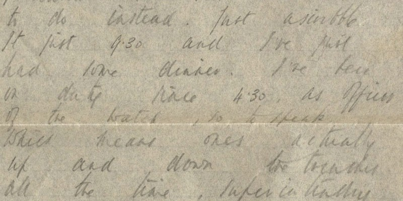 A letter from Alan Bowles to his mother, explaining his daily routine in the trenches