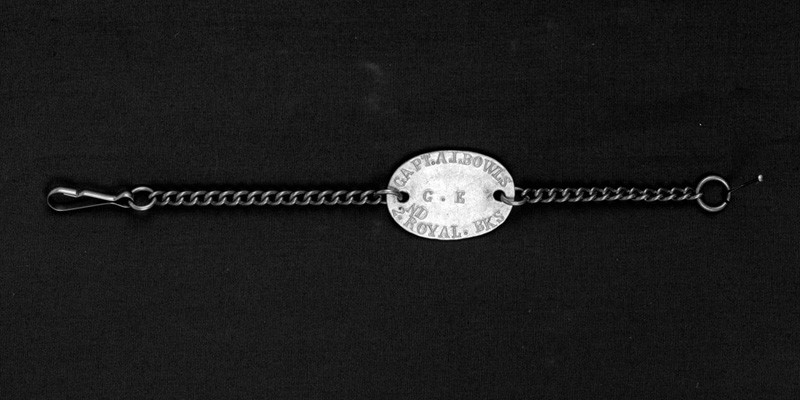 Identity tag belonging to Captain Alan John Bowles, 2nd Battalion The Princess Charlotte of Wales's (Royal Berkshire Regiment), c1915