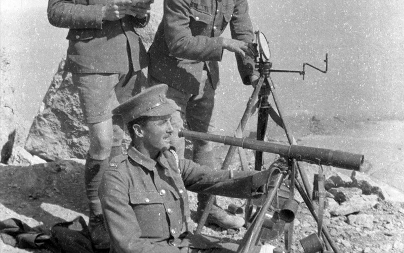'Heliograph signalling - Privates Underhill, Jones and Pope', Sollum, Egypt, c1917