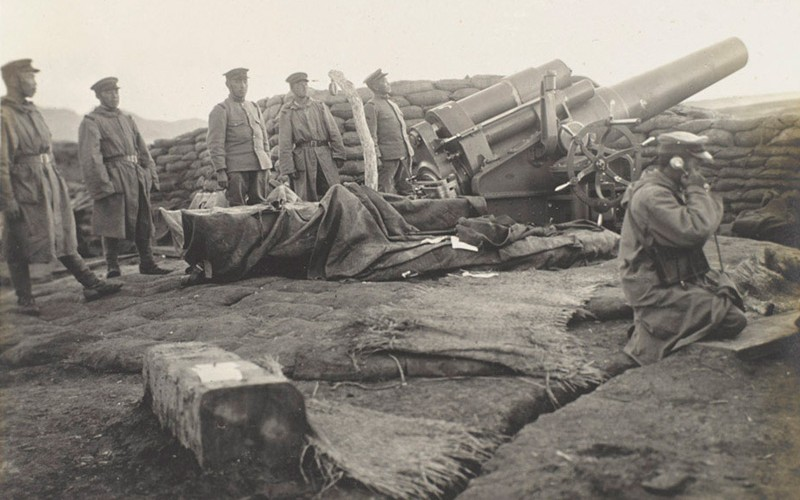 Japanese heavy battery, Tsingtao, October 1914