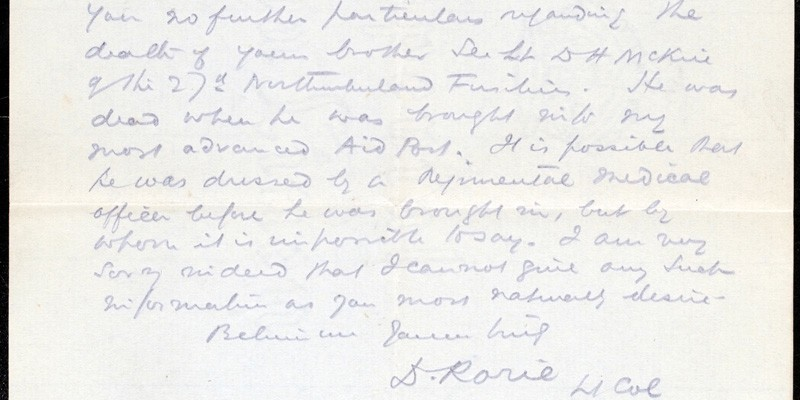 Letter sent to Helen McKie from Lieutenant Colonel Rorie of the Royal Army Medical Corps, April 1917