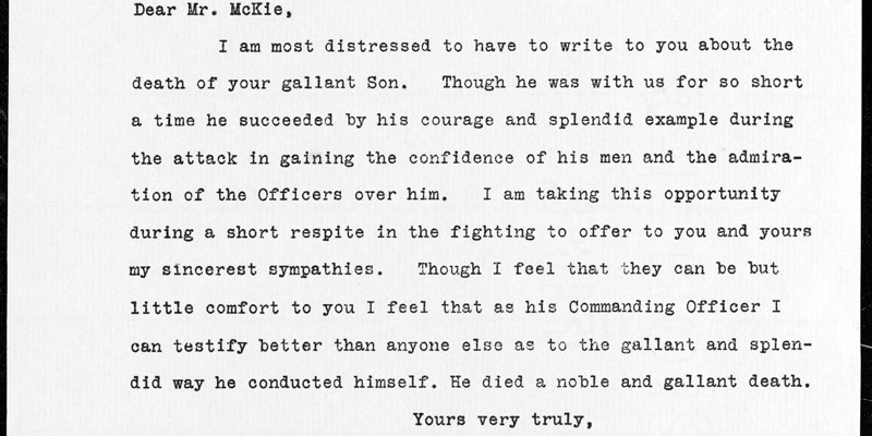 Typed transcript of a letter from Richard D Temple, Douglas McKie's Commanding Officer, to his father on 20 April 1917