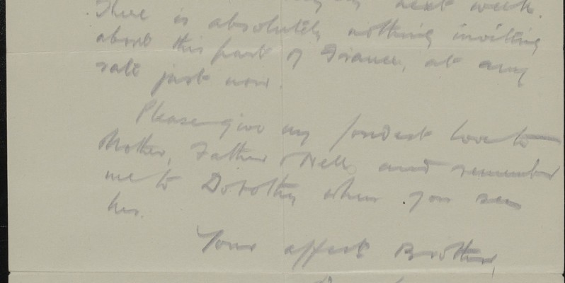Last page of Douglas's letter to his sister Kate, written on 3 April 1917, in which he wishes for a 'Blighty'