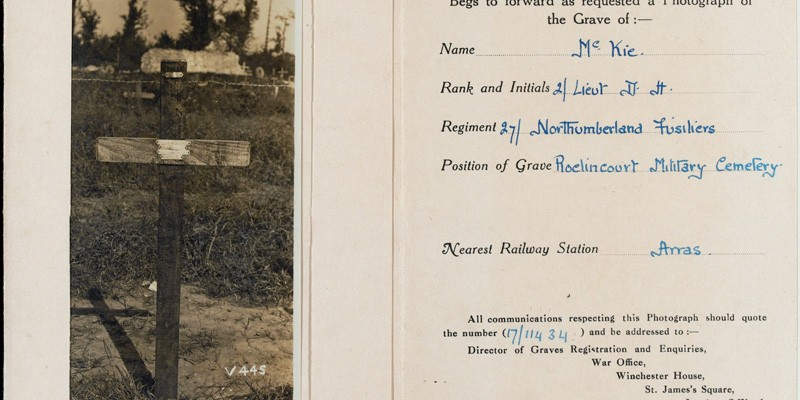 Official photograph of Douglas McKie's grave, enclosed in a cardboard wallet with location details, c1919