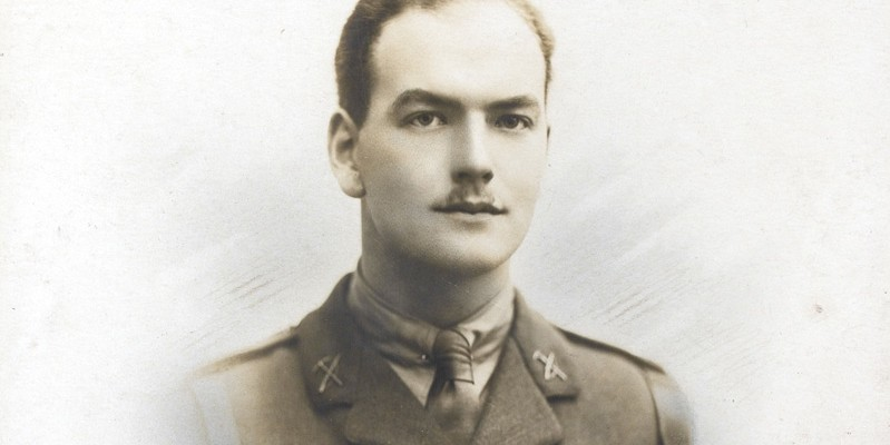 Portrait photograph of Second Lieutenant Douglas Hamlin McKie, Northumberland Fusiliers, c1916