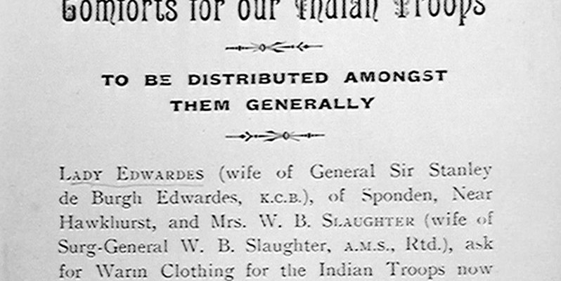 Printed leaflet, 'Comforts for our Indian Troops', c1914