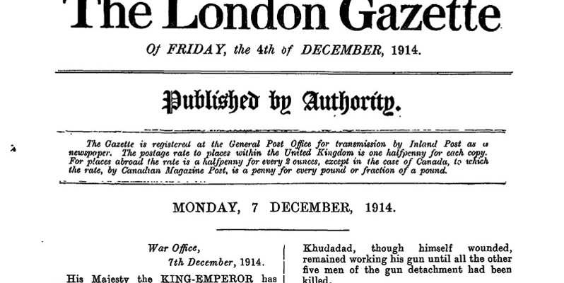 'The London Gazette', 7 December 1914