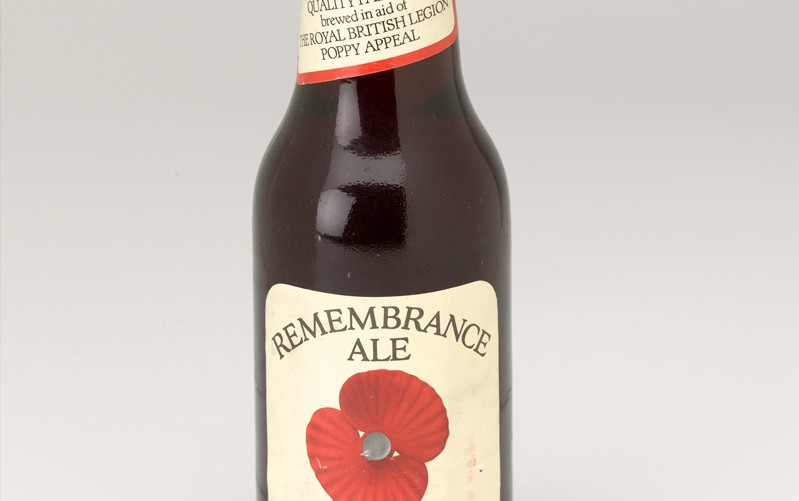 Bottle of Remembrance Ale, brewed in aid of the Royal British Legion Poppy appeal, c1994