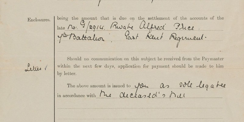 Letter from The War Office informing Private Price's mother that she will receive the sum of £10 6s 2d from the accounts of Alfred Price, 7 Aug 1917