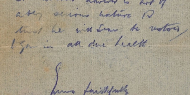 Letter to Private Price's mother informing her that Price was wounded on 14 July 1916, from his Platoon Commanding Officer, 1916