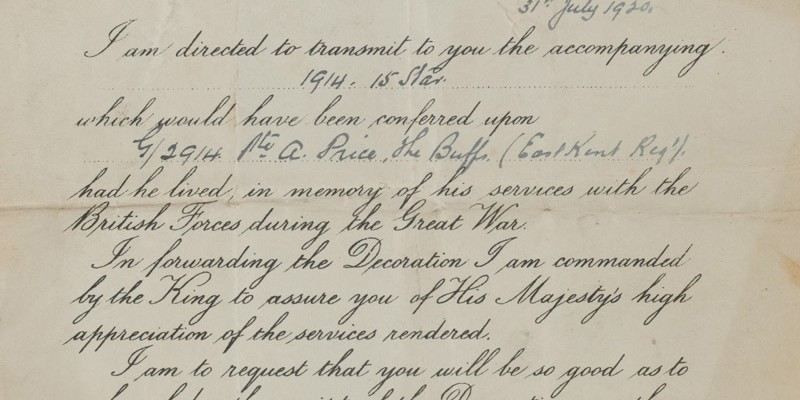 Letter from the Record Office posthumously transmitting the 1914-15 Star to Private Alfred Price, 31 July 1920