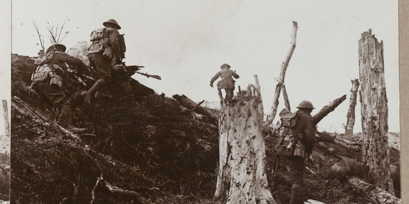 'At dawn, in a determined rush, we carry the fortified Hun entrenchments in Trones Wood by assault', 1916