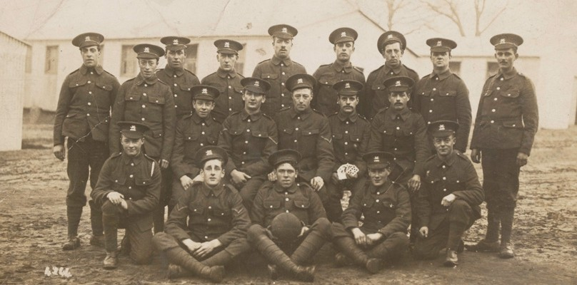 Group photograph of soldiers from The Buffs, c1916