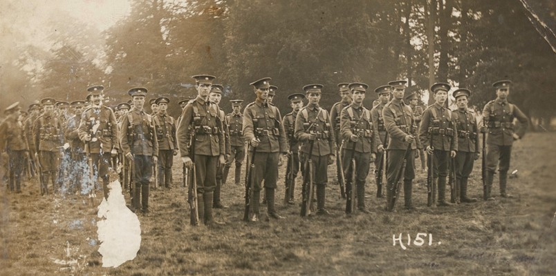 Group photograph of men from The Buffs Regiment, c1916