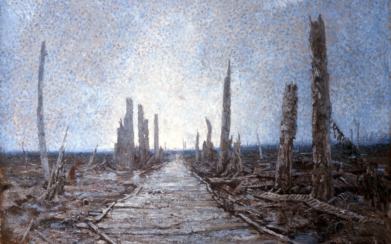 Oil painting by Private Richard Tenant Cooper, who served on this devastated and lifeless landscape, known as Warrington Road, on the Western Front, 1917
