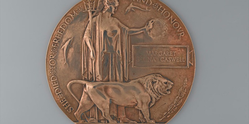 Commemorative Medallion 1914-1918 issued to the next of kin of Margaret Selina Caswell, Queen Mary's Army Auxiliary Corps