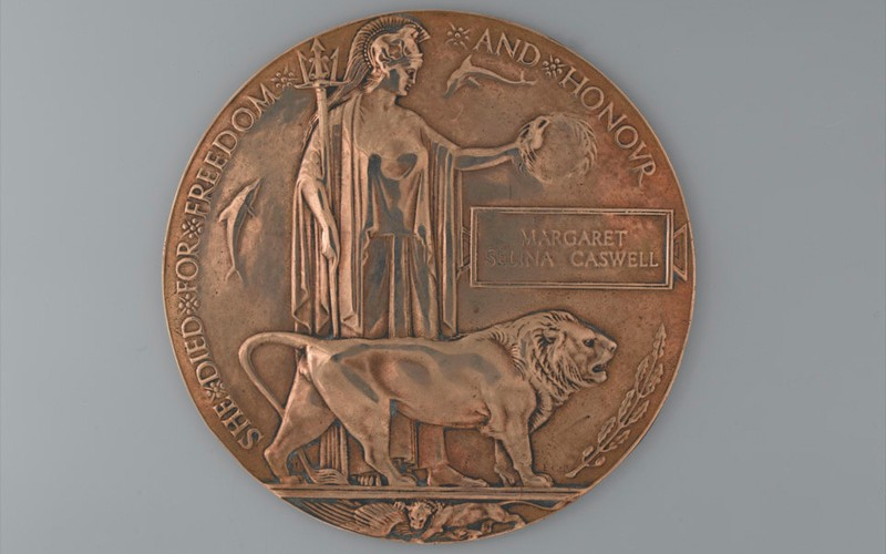 Commemorative Medallion 1914-1918 issued to the next-of-kin of Margaret Caswell, Queen Mary's Army Auxiliary Corps