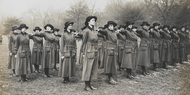 The Women's Auxiliary Army Corps learn to 'drill', c1917