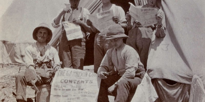 Reading the latest 'war news', 1915