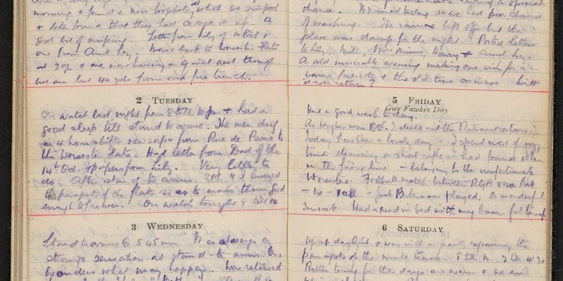 Pages from Archibald Favell's diary, 1915