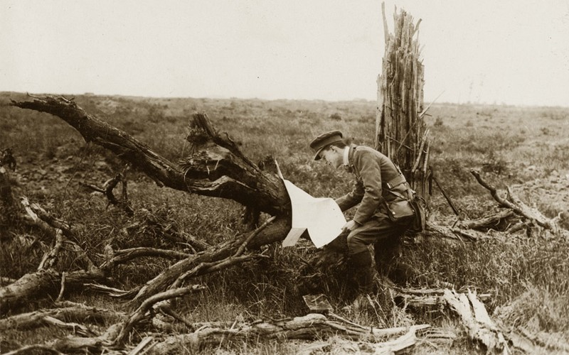 'Battle of Messines Ridge. An officer finds a German map', 1917