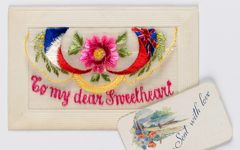 Embroidered postcard sent by Private Holland Leckie Chrismas, Machine Gun Corps, c1916
