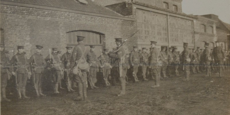 Photograph by Maurice Asprey: Soldiers of 1st Battalion, The Buffs (East Kent Regiment), 1915