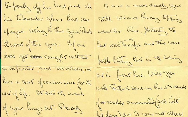 Letter from Asprey to his mother, on the effects of gas on fellow soldiers, 27 May 1915
