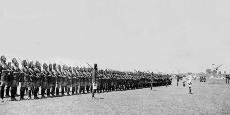 2nd Battalion, The King's African Rifles on parade, c1914