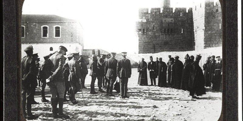 General Sir Edmund Allenby receiving the notables of Jerusalem, 1917
