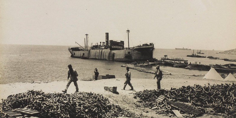 The converted steamer 'River Clyde', anchored at 'V' Beach, 1915