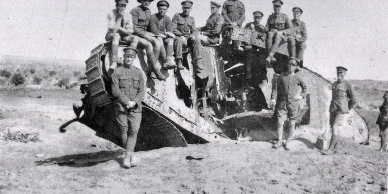 Wrecked British Mark I tank, 'War Baby', Gaza, 1918