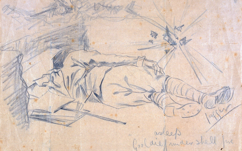 Gooldie asleep under shell fire, 1915
