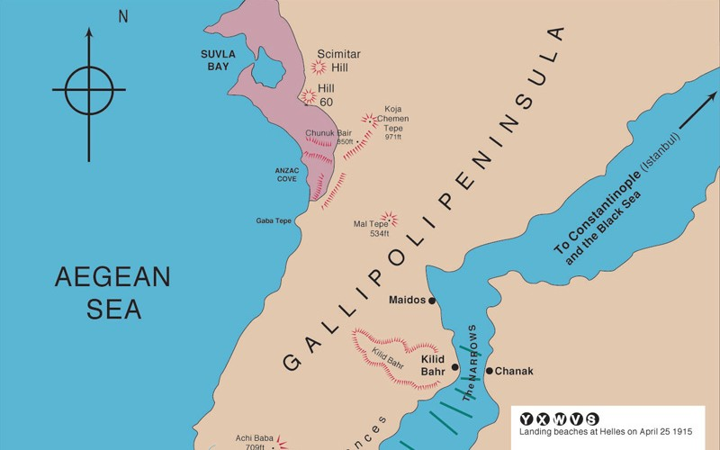 Map of the Gallipoli peninsula