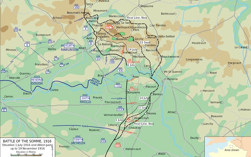 Map of the Battle of the Somme, 1916