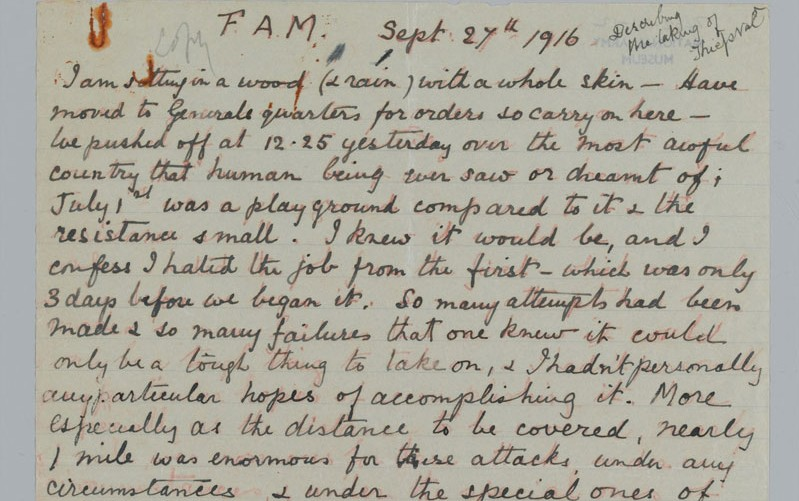 Letter sent by Lieutenant-Colonel Francis Maxwell VC to his wife, 27 September 1916