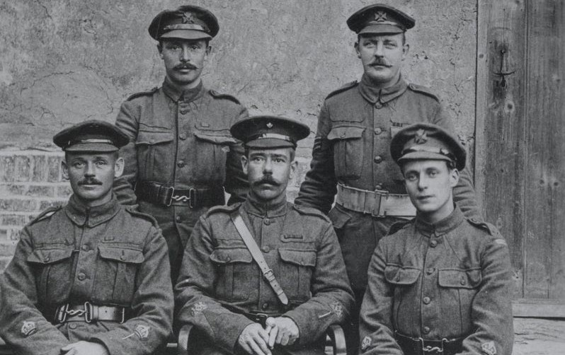 Regimental Quarter Master Sergeant James Littler (seated front right) with fellow warrant officers, c1916
