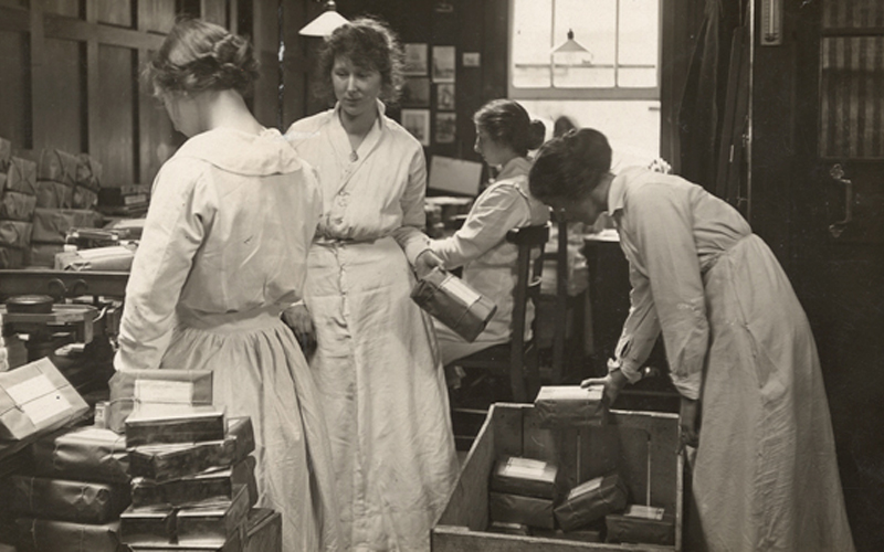 Cadbury 'girls' packing comforts at the Bournville Works