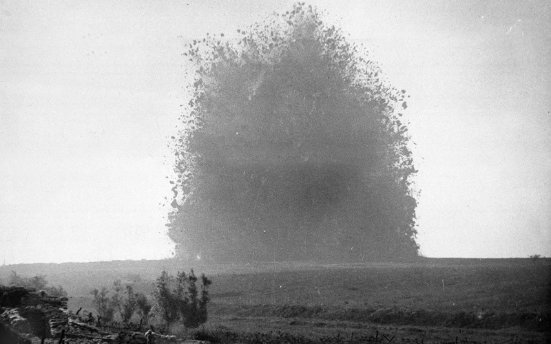 The detonation of a mine on the Somme, 1916