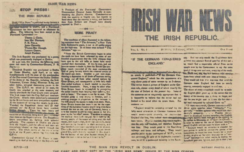 "The First and only copy of ""The Irish War News"" issued by the Sinn Feiners"