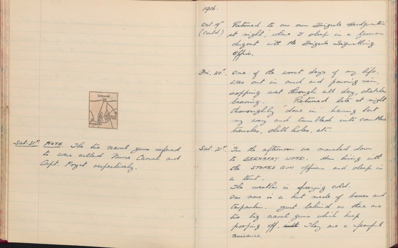 Diary for 1916 by Second Lieutenant Eric Hall, 2nd Battalion The Hampshire Regiment