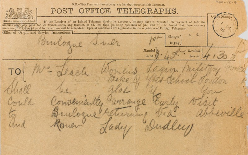 Telegram from Lady Rachel Dudley to Florence Leach regarding her visit to France, 1 December 1916