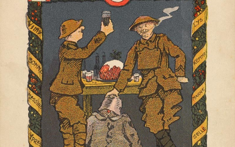 Christmas card of the 106th Field Company Royal Engineers, sent by Sapper Fred Rushforth to his wife, 1918