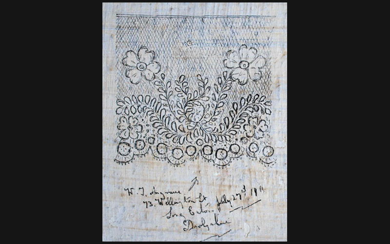 A floral lace design drawn by WJ Angrave, conscientious objector, July 1916