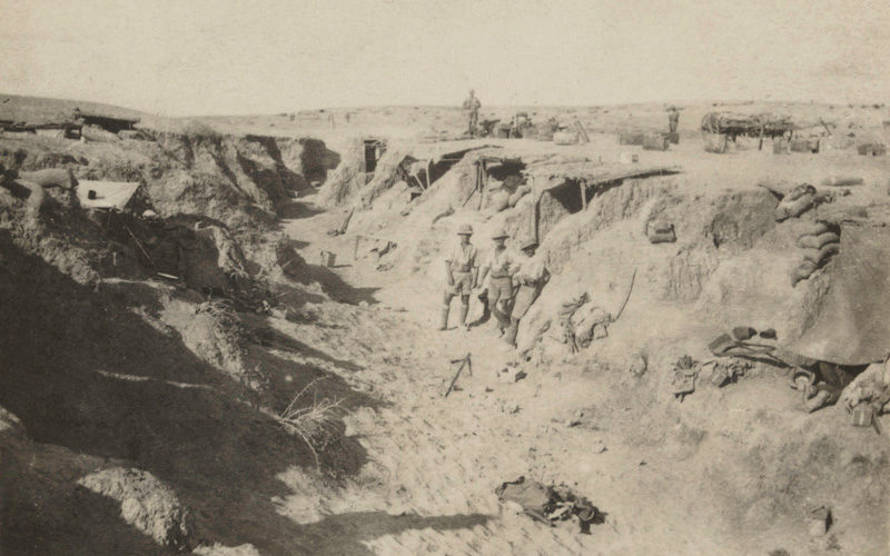 British troops in a captured wadi, a type of Turkish defence, 1917